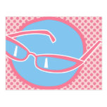 Pink Cats Eye Glasses Post Card