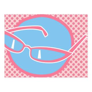Pink Cats Eye Glasses Postcard