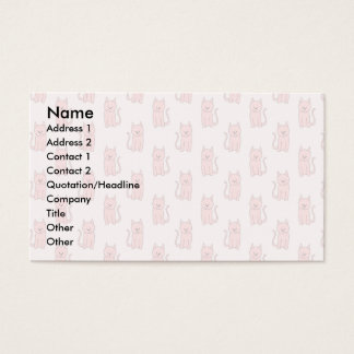 Pink Cats. Pattern Business Card