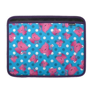 Pink cats sky blue polka dots MacBook sleeves