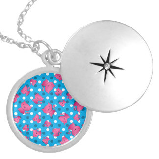 Pink cats sky blue polka dots round locket necklace