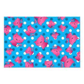 Pink cats sky blue polka dots art photo