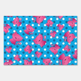 Pink cats sky blue polka dots lawn signs