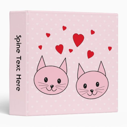 Pink cats with love hearts. 3 ring binders