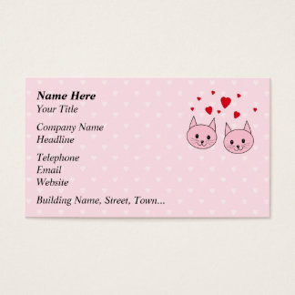 Pink cats with love hearts. business card