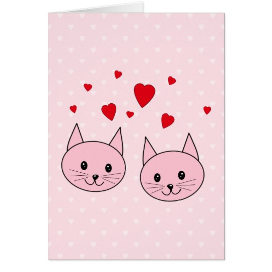 Pink cats with love hearts. card