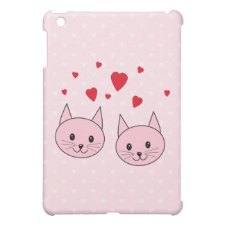 Pink cats with love hearts. cover for the iPad mini