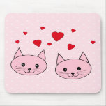 Pink cats with love hearts. mouse pad