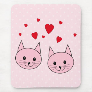 Pink cats with love hearts mouse pad