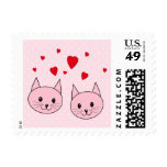 Pink cats with love hearts. postage