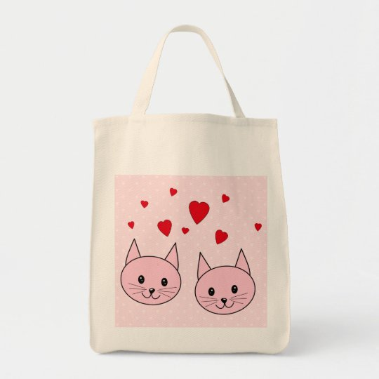 Pink cats with love hearts. tote bag