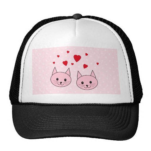 Pink cats with love hearts. trucker hat