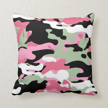 Pink & Celadon Green Camo Throw Pillow