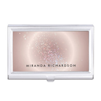 Pink Celestial Confetti Circle Case For Business Cards