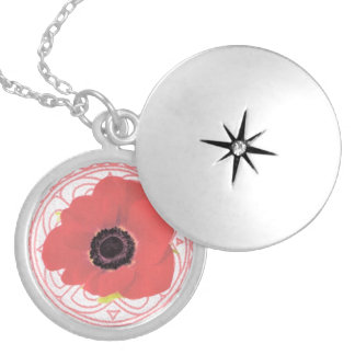 Pink Celtic and Poppy Themed Necklace