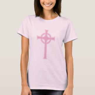 Pink Celtic Christian Cross T-Shirt