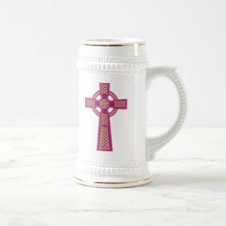 Pink Celtic Cross Beer Stein Mug