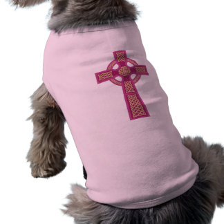 Pink Celtic Cross Dog Shirt