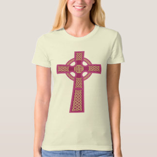 Pink Celtic Cross Ladie's Fitted Organic T-Shirt
