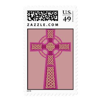 Pink Celtic Cross Postage Stamps