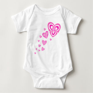 Pink Celtic Hearts Baby Bodysuit