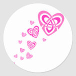 Pink Celtic Hearts Classic Round Sticker