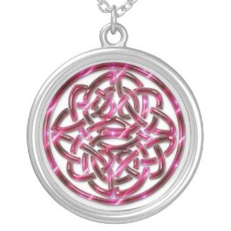 Pink Celtic Knot Round Pendant Necklace