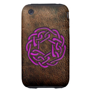 Pink celtic knot on leather iPhone 3 tough covers