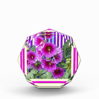 Pink-Cerise Hollyhocks, Yellow Gifts by Sharles Award