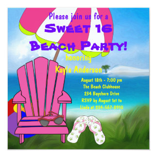 Pink Chair Flip Flops Sweet 16 Beach Party 5.25x5.25 Square Paper Invitation Card