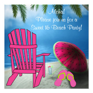 Pink Chair Flip Flops Sweet 16 Beach Party Invites