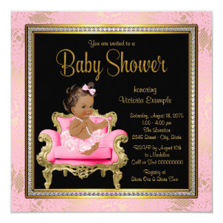 Pink Chair Lace Pearls Ethnic Girl Baby Shower Card
