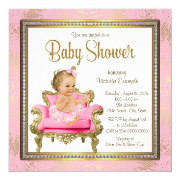 Pink Chair Lace Pearls Pink Gold Baby Shower Card