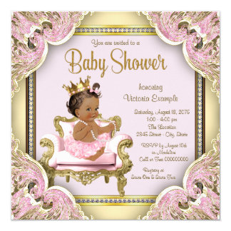 Pink Chair Pearls Pink Gold Ethnic Baby Shower Card