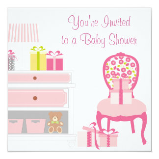 Pink Chair Shower Gifts Pink Baby Girl Shower 5.25x5.25 Square Paper Invitation Card