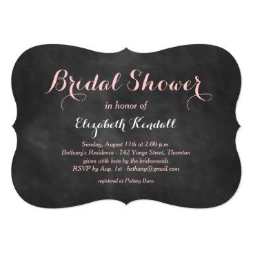 Beach Themed Pink Chalk Bridal Shower Invitation