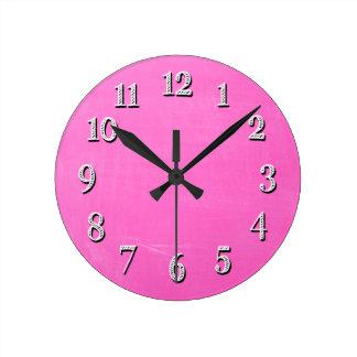Pink Chalkboard Design Round Clock