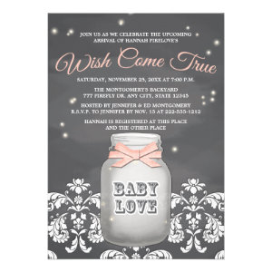Pink Chalkboard Firefly Mason Jar Baby Shower Custom Announcements