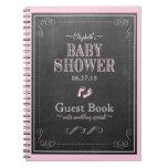 Pink Chalkboard Footprints Baby Shower Guest Book Notebook