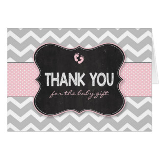 Pink Chalkboard girl baby shower thank you notes