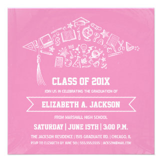 Pink Chalkboard Graduation Invitation with Photo