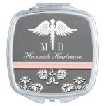 Pink Chalkboard Physician Doctor MD Caduceus Compact Mirror