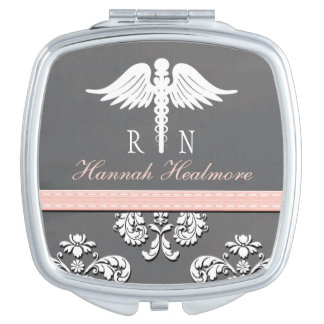 Pink Chalkboard Registered Nurse RN Caduceus Compact Mirror