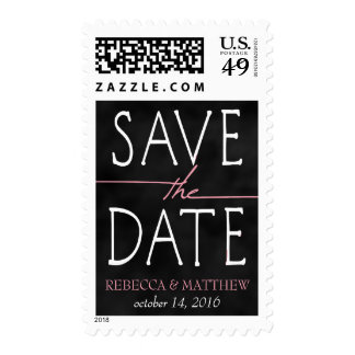 Pink Chalkboard Save the Date Stamp