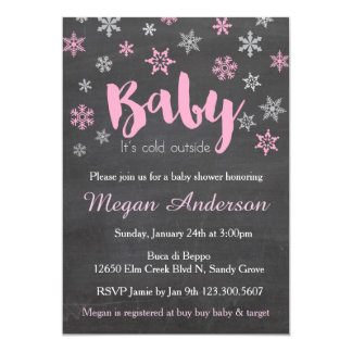 Pink Chalkboard Snowflakes Baby Shower Invitations