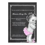 Pink Chalkboard Vintage Baby Shower Invitation