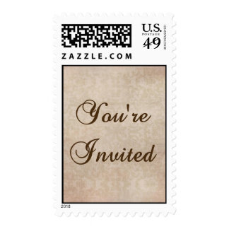 Pink, Champagne, and Brown Invitation Stamp