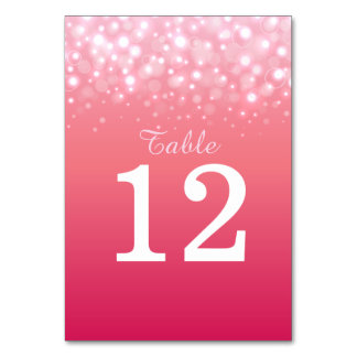 Pink champagne bubbles Wedding table numbers Table Cards