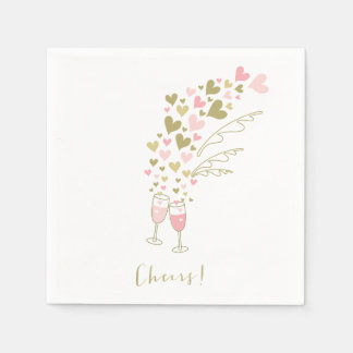 Pink Champagne Cheers Engagement Wedding Party Paper Napkin