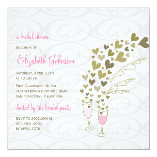 Pink Champagne Cheers Golden Hearts Bridal Shower Card